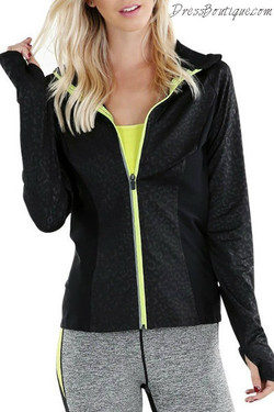 Black Leopard Print Workout Jacket
