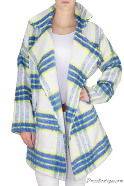 Blue Plaid Woven Coat