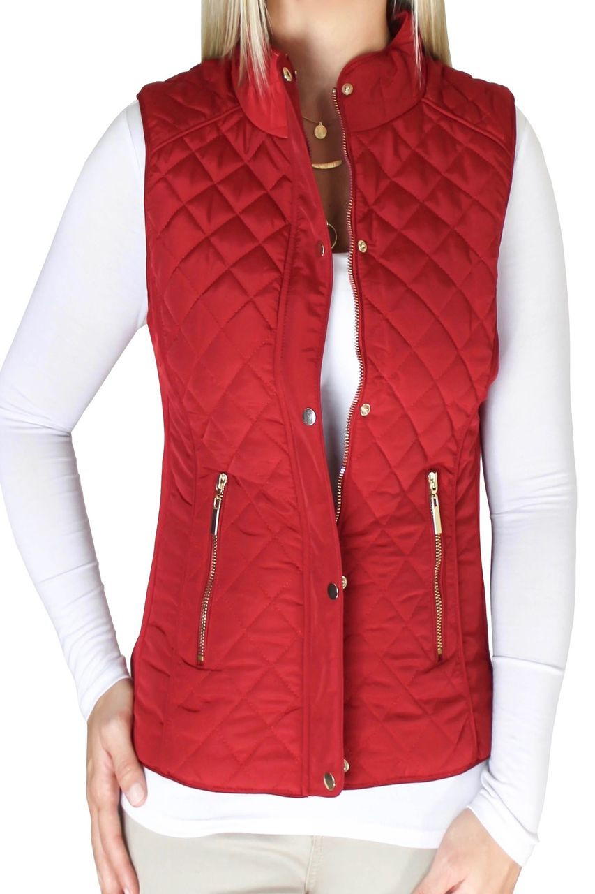 Red Quilted Vest Shop Women S Jackets