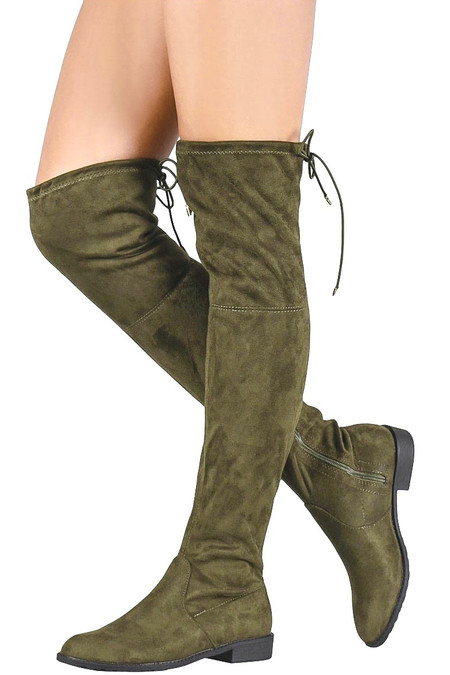 Olive Over the Knee Boots