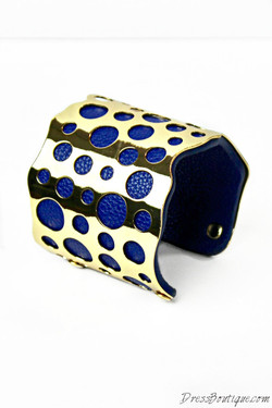 Blue Leather & Gold Cuff