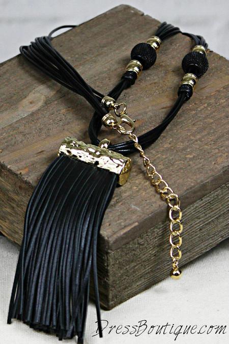 Black Leather Fringe Necklace