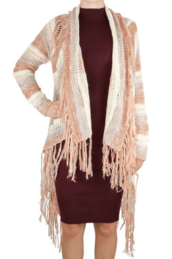 Blush Fringed Cardigan