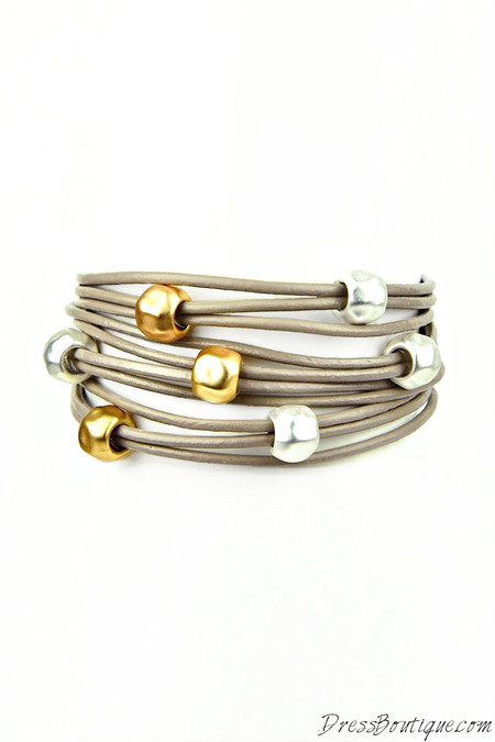 Taupe Leather Beaded Bracelet