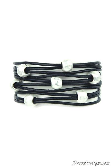 Black Leather Beaded Bracelet