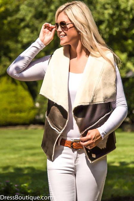 Brown Faux Leather Vest