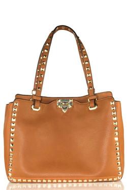 Brown Leather Studded Bag