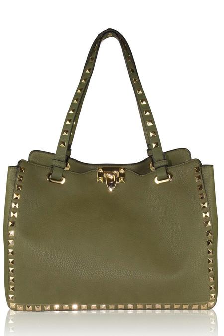 Olive Leather Studded Bag