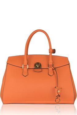 Orange Leather Tote