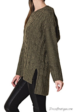 Olive Knit Sweater with Hood
