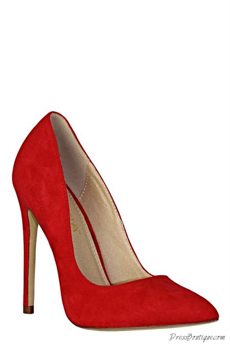 Flaming Red Velvet Heels