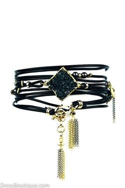 Black Leather Wrap Bracelet