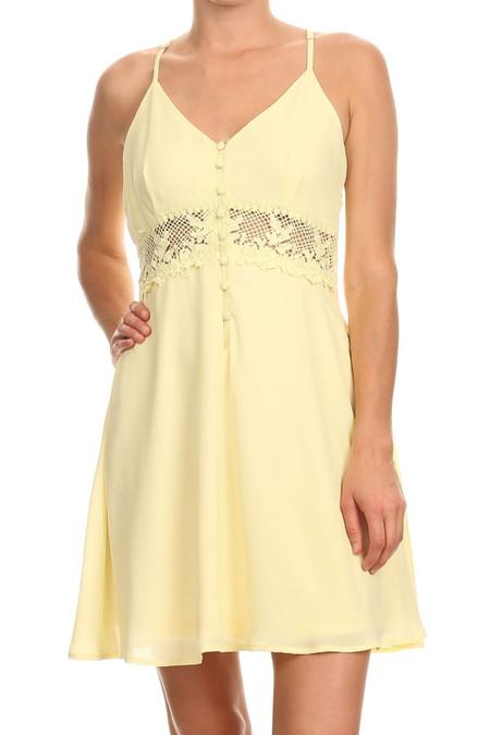 Soft Yellow Lace Summer Dress