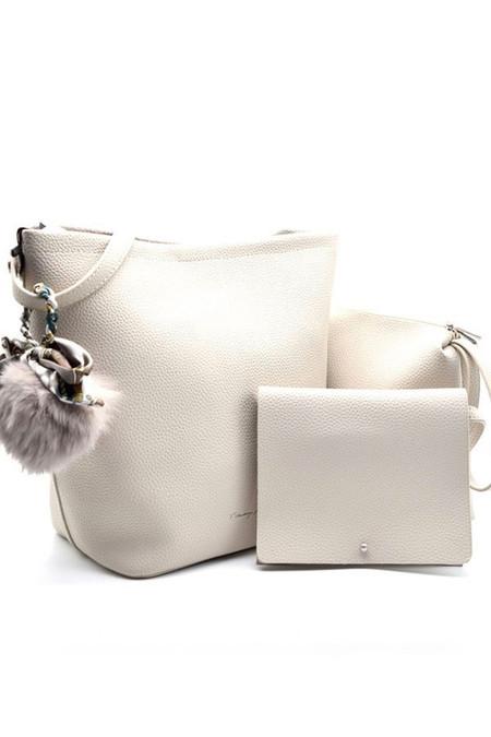 3 In 1 Light Grey Leather Shoulder Bag