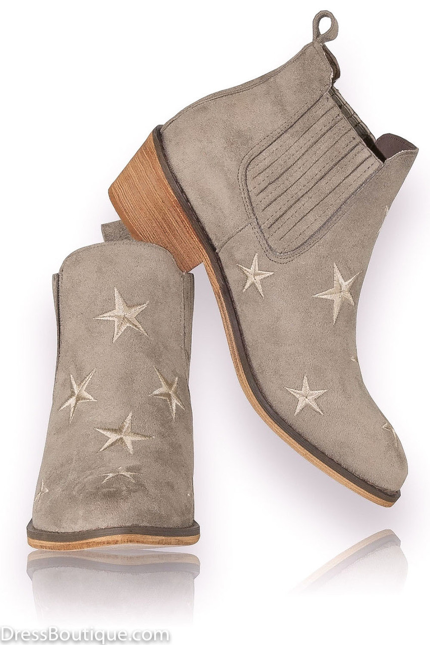7941bd Mujer Ante Zapatos Beige Booties Star Shop qY6vnw8