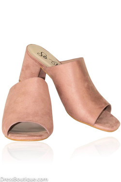 Blush Suede Block Heel Sandals