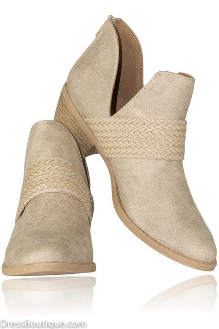 Braided Beige Ankle Boot