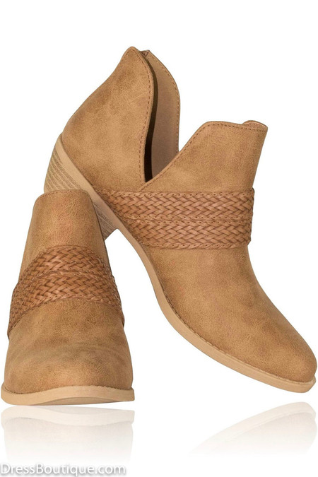 Braided Camel Ankle Boot
