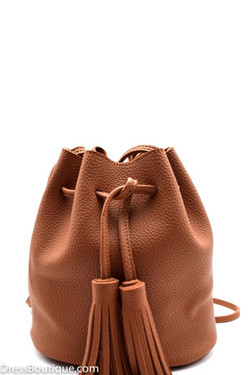 Camel Fringed Pouch Bag