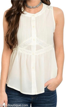 Ivory Lace Buttoned Blouse