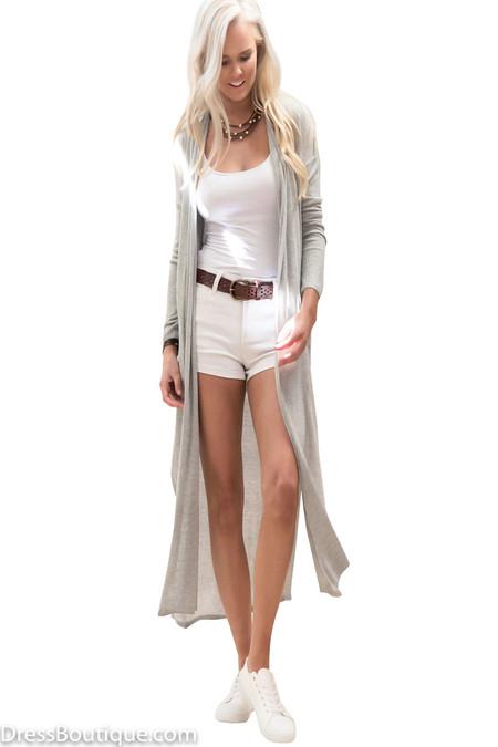 Grey Maxi Knit Cardigan