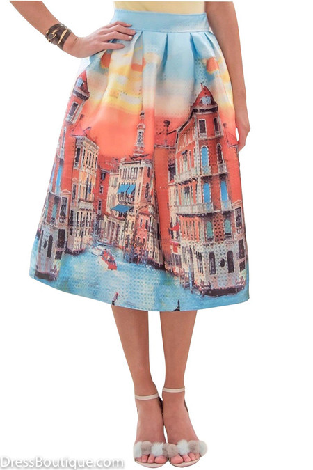 Blue Venetian Print Midi Skirt