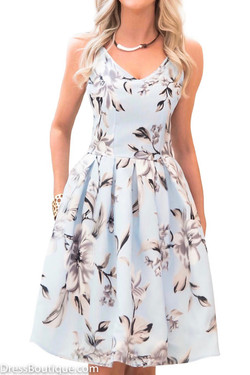 Baby Blue Floral Dress
