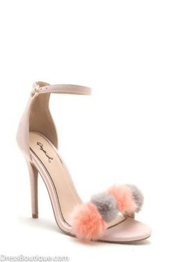 Blush Pom Pom Heels