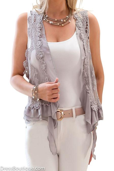 Grey Lace Vest