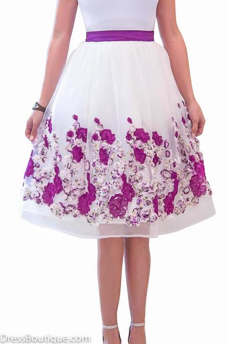 Violet Floral Midi Skirt