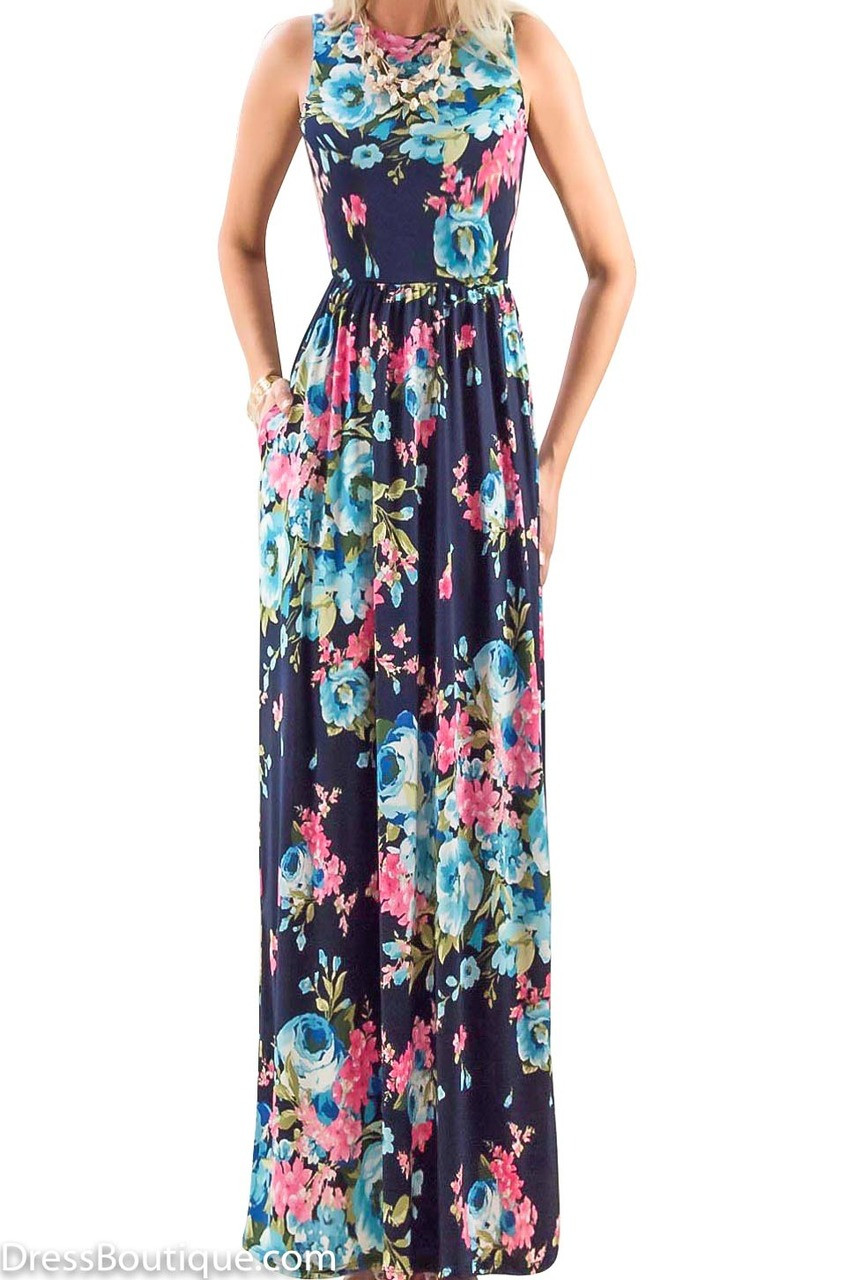 Navy Floral Print Maxi Dress Shop Women S Dresses