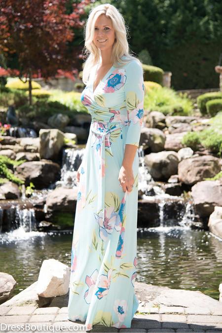 Aqua Floral Maxi Dress