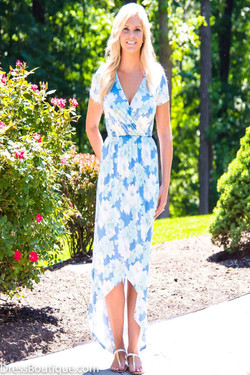 Blue Floral Short Sleeve Dress