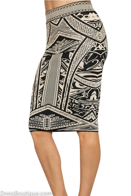 Jacquard Bodycon Skirt