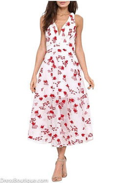 Embroidered Red Floral Mesh Dress