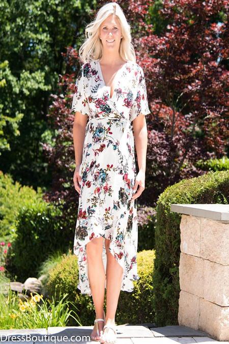 Cream Floral Short Sleeve Wrap Dress