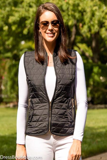 Women's Slim Fit Black Padded Vest