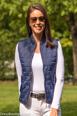 Women's Slim Fit Navy Padded Vest