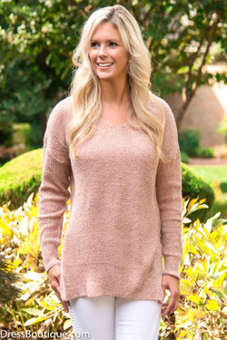 Crochet Dusty Blush Sweater with Side Split