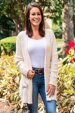 Women's Long Cream Knit Cardigan