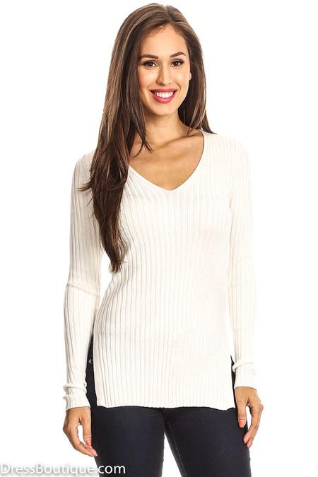 Cream Rib Knit V-Neck Top