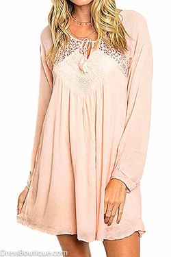 Blush Long Sleeve Lace Detail Dress