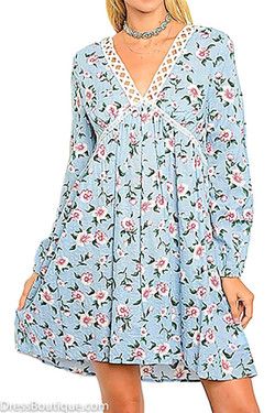Blue Long Sleeve Floral Dress with Crochet Detail