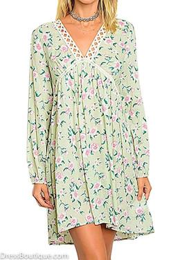 Light Green Long Sleeve Floral Dress with Crochet Detail