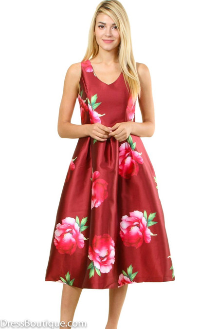 Burgundy Floral Fit And Flare Dress Shop Women S Dresses
