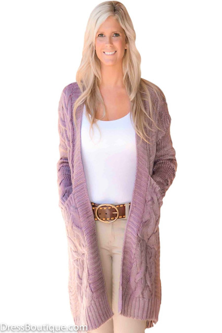 Cable Knit Lilac Cardigan