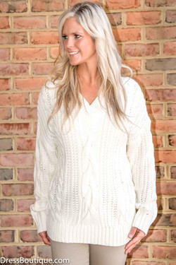 Cable Knitted Oversized White V-Neck Sweater