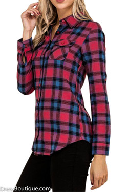 Red/Blue Long Sleeve Plaid Flannel