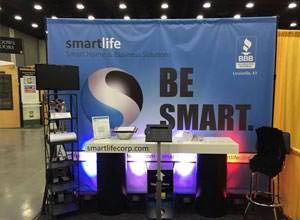 Step and Repeat Tradeshow Booth from BeSmart printed by StickersBanners