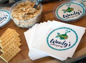 Circle Stickers for Woody's fish dip printed by StickersBanners.